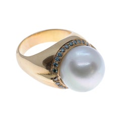 Australian Pearl Cocktail Ring with Sapphires in 18 Karat Rose Gold