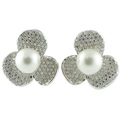 Australian Pearl Diamond Gold Flower Shaped Earrings