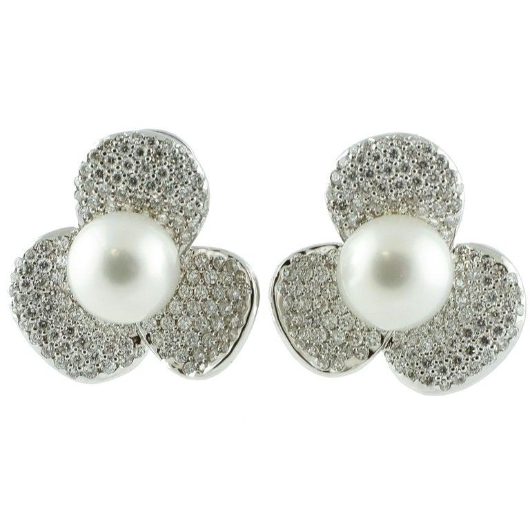 Australian Pearl Diamond Gold Flower Shaped Earrings