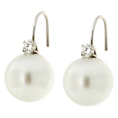 Australian Pearls 18 Karat White Gold Diamonds Stud Earrings