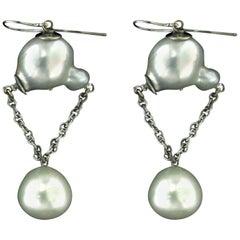 Australian Pearls 18 Karat White Gold Drop Earrings