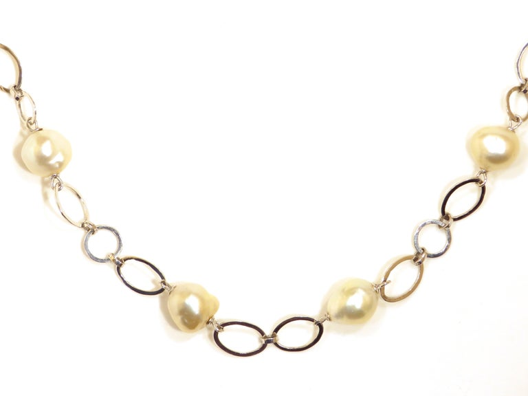 Contemporary Australian Pearls White Gold Necklace Handcrafted in Italy by Botta Gioielli For Sale