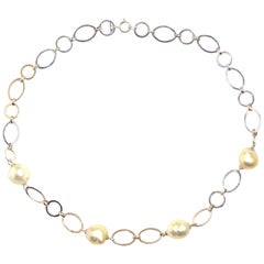 Australian Pearls White Gold Necklace Handcrafted in Italy by Botta Gioielli