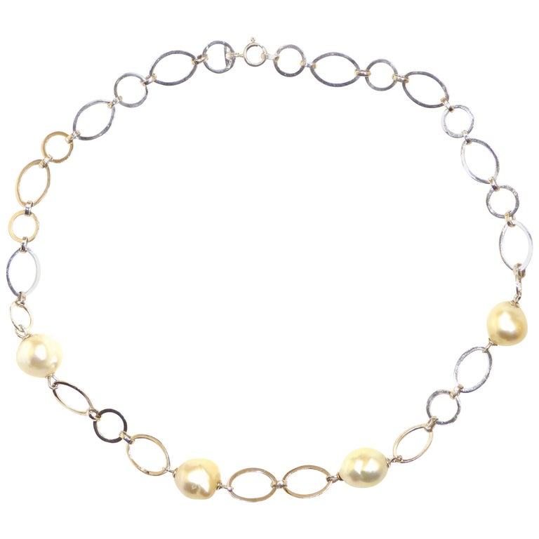 Australian Pearls White Gold Necklace Handcrafted in Italy by Botta Gioielli For Sale