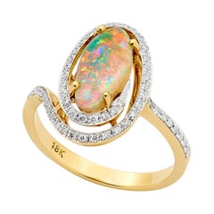 Opal Minded Australian Pipe Opal and Diamond Ring in 18K Yellow Gold