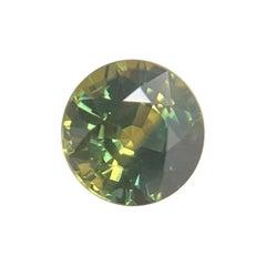 Australian Sapphire 1.32 Carat Unique Bi Color Green Yellow Round Cut Loose Gem