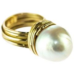 Australian South Sea Pearl Woven 18 Karat Gold Romantic Round Cocktail Ring