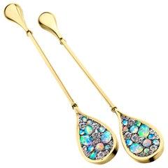 Australian White Opal and White Diamond Pave Long Earrings