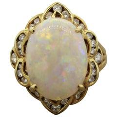 Australian White Opal Diamond Gold Ring