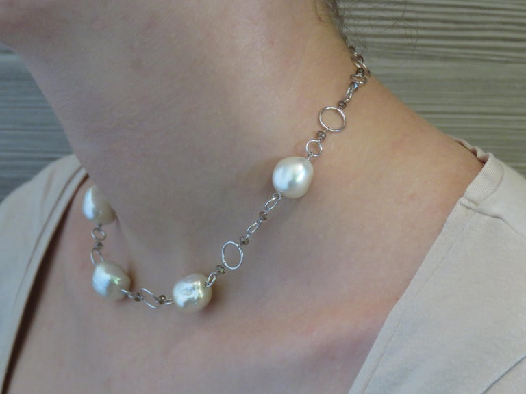 Contemporary Australian White Pearls Brown Diamonds White Gold Necklace Handcrafted in Italy For Sale