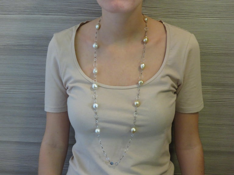 Australian White Pearls Brown Diamonds White Gold Necklace Handcrafted in Italy For Sale 1