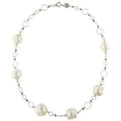 Australian White Pearls Brown Diamonds White Gold Necklace Handcrafted in Italy