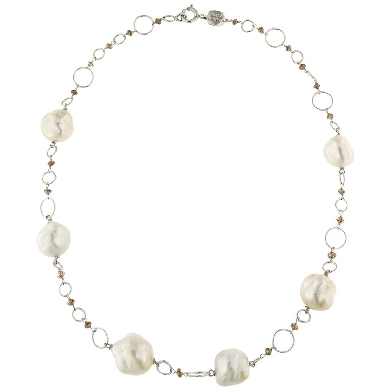 Australian White Pearls Brown Diamonds White Gold Necklace Handcrafted in Italy For Sale
