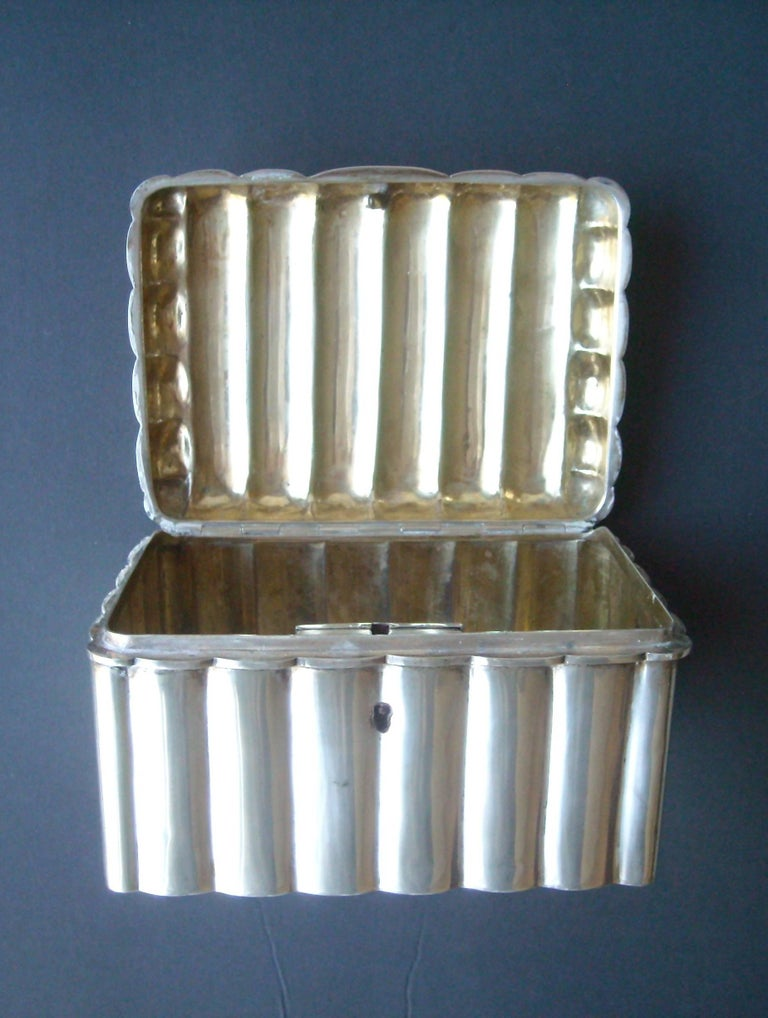 Hand-Crafted Austria, Vienna, Silver Etrog or Sugar Box with Lock, Great Modern Look For Sale