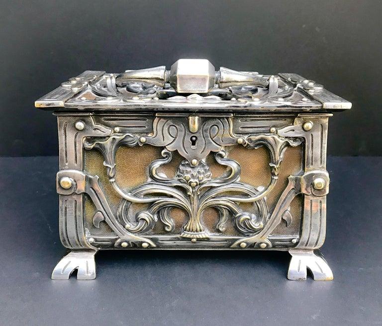 f2f686b3db1d European Austria/France Art Nouveau Silvered Heavy Bronze Jewelry Box  Casket, circa 1900 For