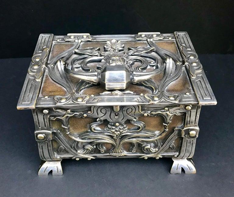 35cb7d25bfb9 Austria/France Art Nouveau Silvered Heavy Bronze Jewelry Box Casket, circa  1900 For Sale