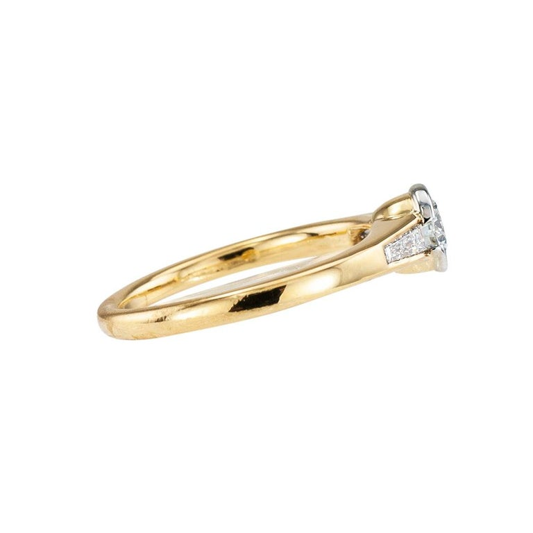 Austrian 0.42 Carat Diamond Yellow Gold Engagement Ring In Good Condition For Sale In Los Angeles, CA