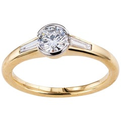 Austrian 0.42 Carat Diamond Yellow Gold Engagement Ring
