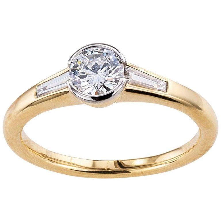 Austrian 0.42 Carat Diamond Yellow Gold Engagement Ring For Sale