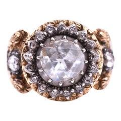 Austrian 18 Karat Rose Diamond Repousse Ring