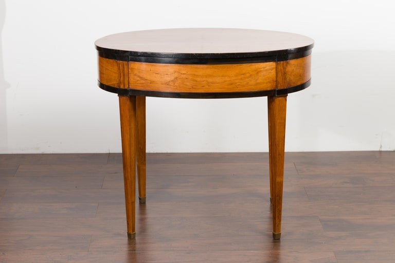 Austrian 1840s Biedermeier Oval Top Table with Drawer and Ebonized Accents For Sale 7