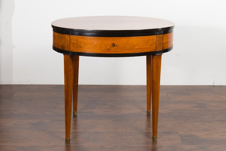 Austrian 1840s Biedermeier Oval Top Table with Drawer and Ebonized Accents For Sale 1