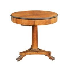 Austrian 1840s Biedermeier Walnut Table with Star Inlay, Drawers and Paw Feet