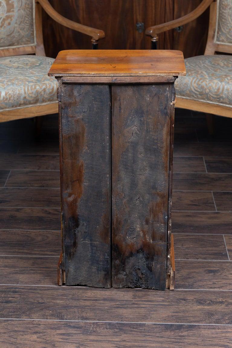 Austrian 1870s Biedermeier Style Walnut Bedside Cabinet with Door and Drawer For Sale 6