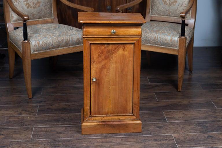 Veneer Austrian 1870s Biedermeier Style Walnut Bedside Cabinet with Door and Drawer For Sale