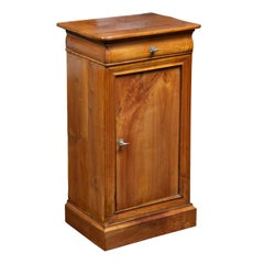 Austrian 1870s Biedermeier Style Walnut Bedside Cabinet with Door and Drawer