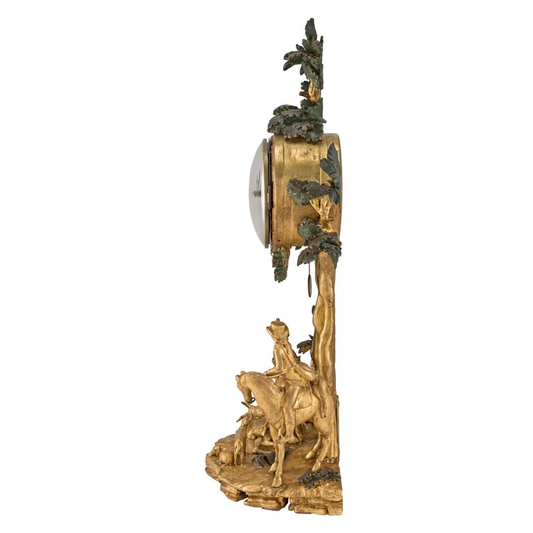 Austrian 18th Century Giltwood and Polychrome Clock In Excellent Condition For Sale In West Palm Beach, FL