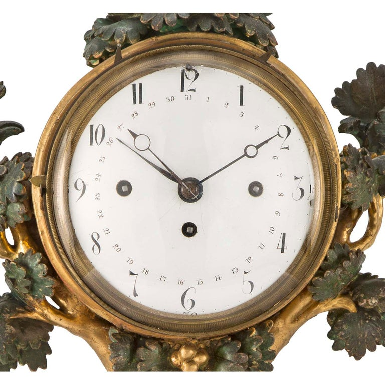 18th Century and Earlier Austrian 18th Century Giltwood and Polychrome Clock For Sale