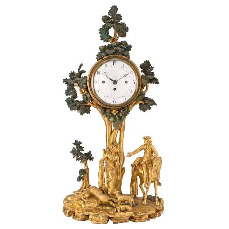 Austrian 18th Century Giltwood and Polychrome Clock For Sale