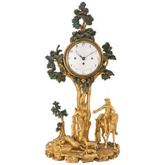 Austrian 18th Century Giltwood and Polychrome Clock