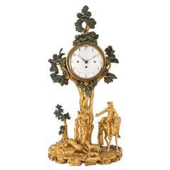 Austrian 18th Century Giltwood and Polychrome Clock