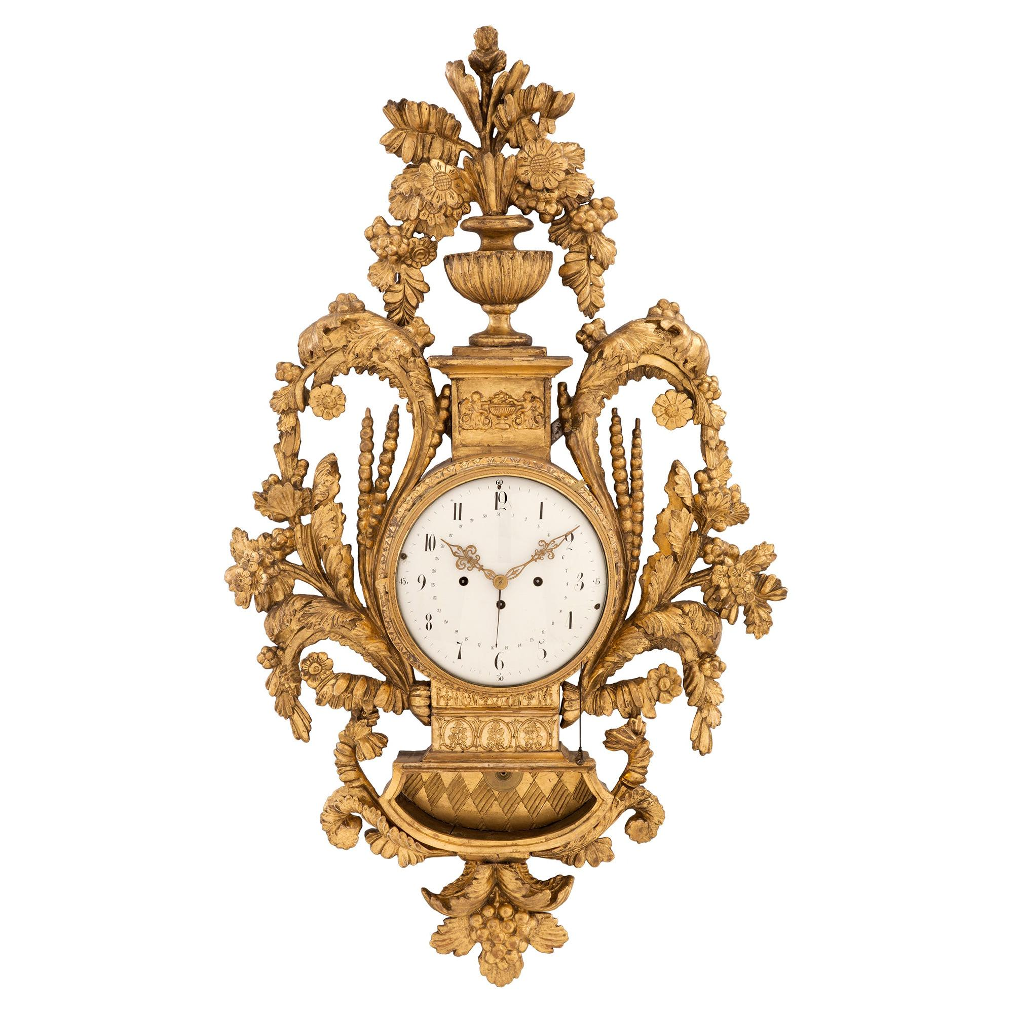Austrian 18th Century Louis XVI Period Giltwood Cartel Blind Man's Clock