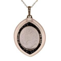 Austrian 1900s Rock Crystal Diamond Onyx Silver Gold Pendant