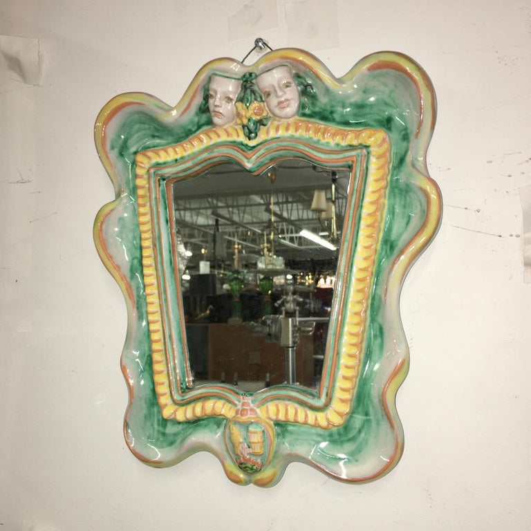 Glazed Austrian 1930s Art Deco Mirror by Gmundner Keramik For Sale