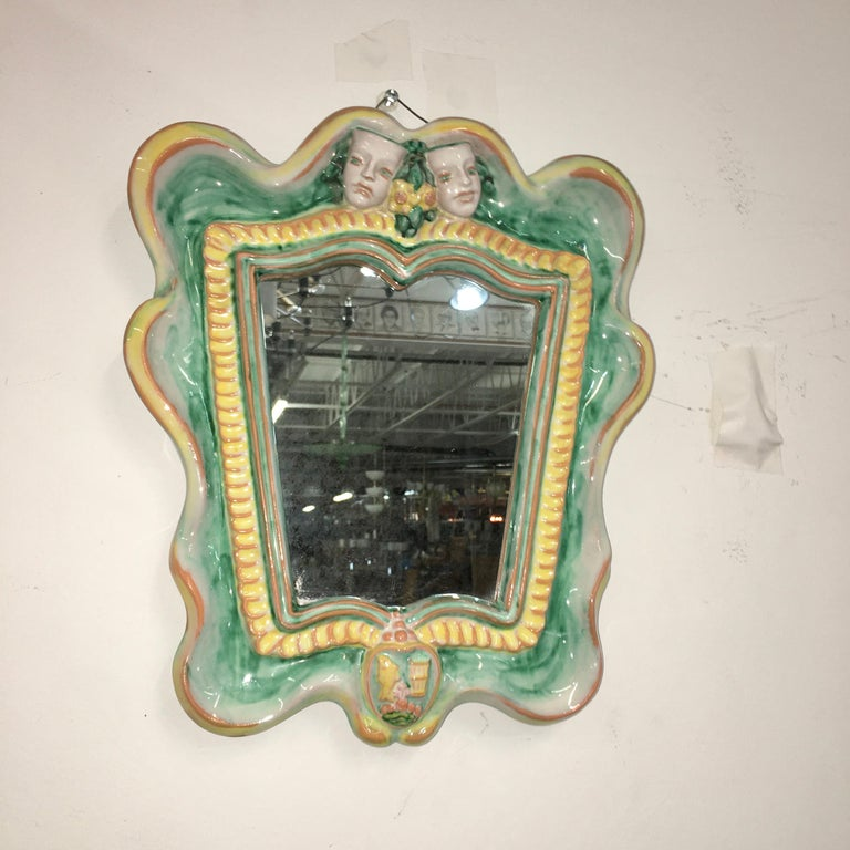 Austrian 1930s Art Deco Mirror by Gmundner Keramik In Good Condition For Sale In Hingham, MA