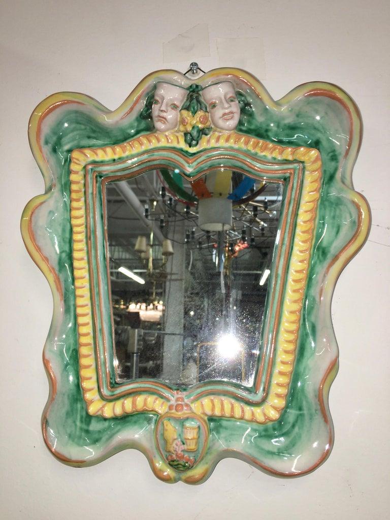 Mid-20th Century Austrian 1930s Art Deco Mirror by Gmundner Keramik For Sale