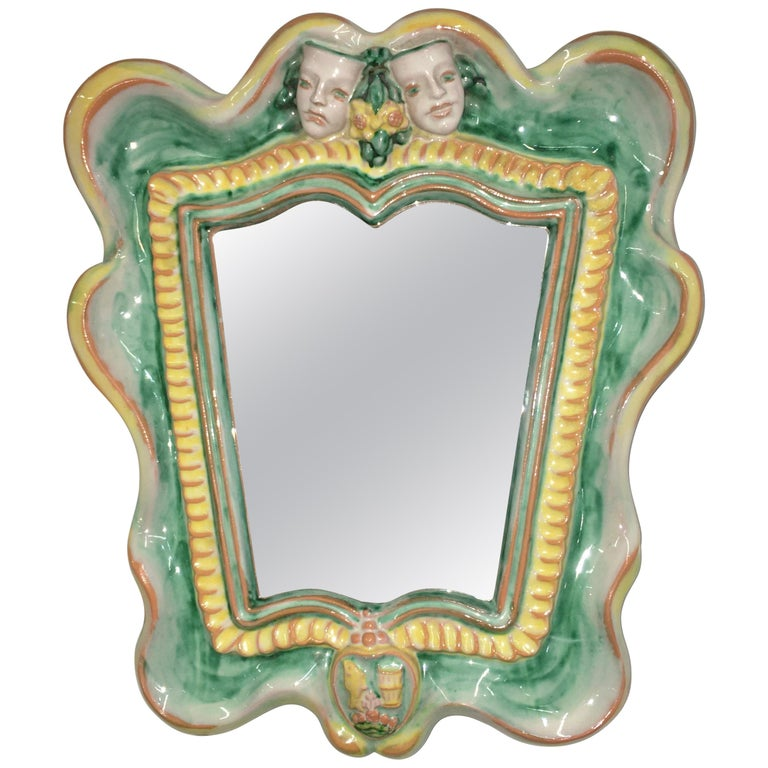 Austrian 1930s Art Deco Mirror by Gmundner Keramik For Sale
