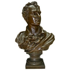 Austrian 19th Century Bronze Bust of Lord Byron Signed Hans Fromm
