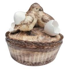 Austrian 19th Century Majolica Chicks with Eggs Basket