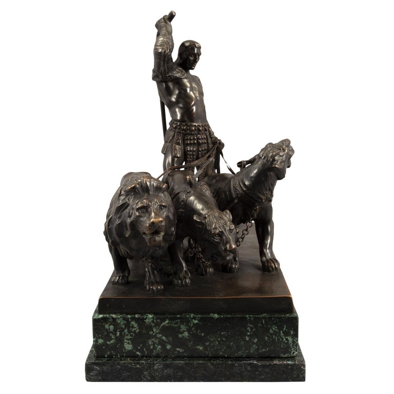 Austrian 19th Century Patinated Bronze and Vert De Patricia Marble Statue In Good Condition For Sale In West Palm Beach, FL
