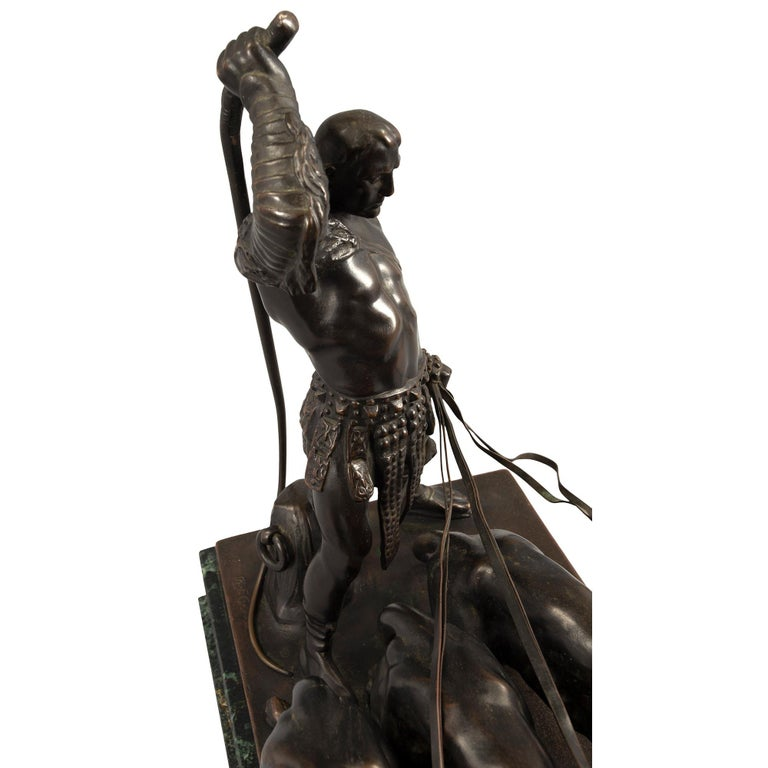 Austrian 19th Century Patinated Bronze and Vert De Patricia Marble Statue For Sale 5