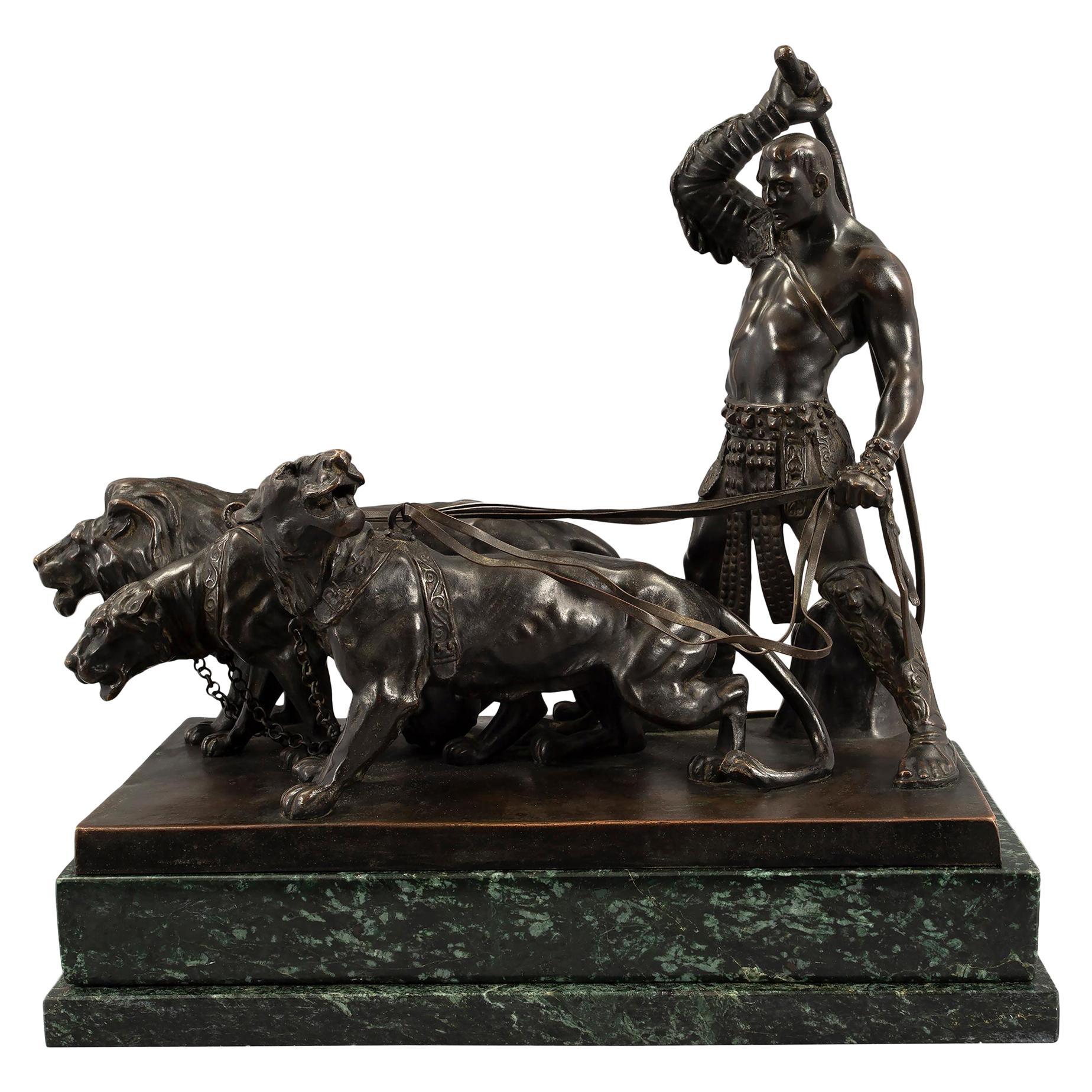 Austrian 19th Century Patinated Bronze and Vert De Patricia Marble Statue