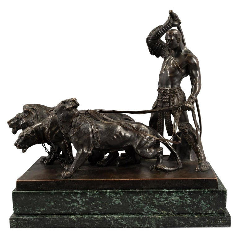 Austrian 19th Century Patinated Bronze and Vert De Patricia Marble Statue For Sale
