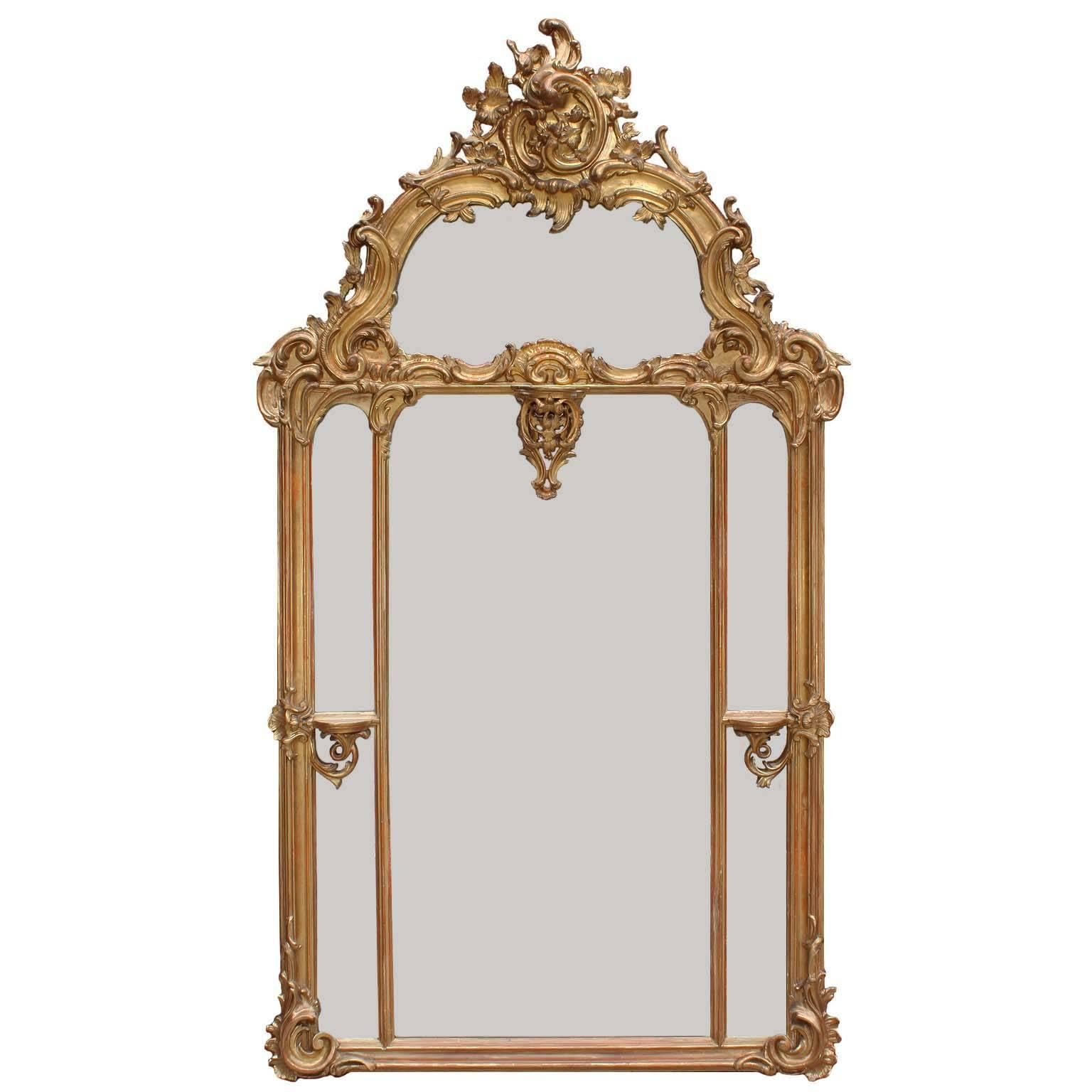 Austrian 19th Century Rococo Style Giltwood Carved and Gesso Overmantel Mirror