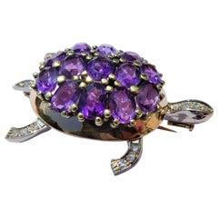 Austrian Amethyst Diamonds Rubies 14 Karat Gold 1980s Turtle Brooch