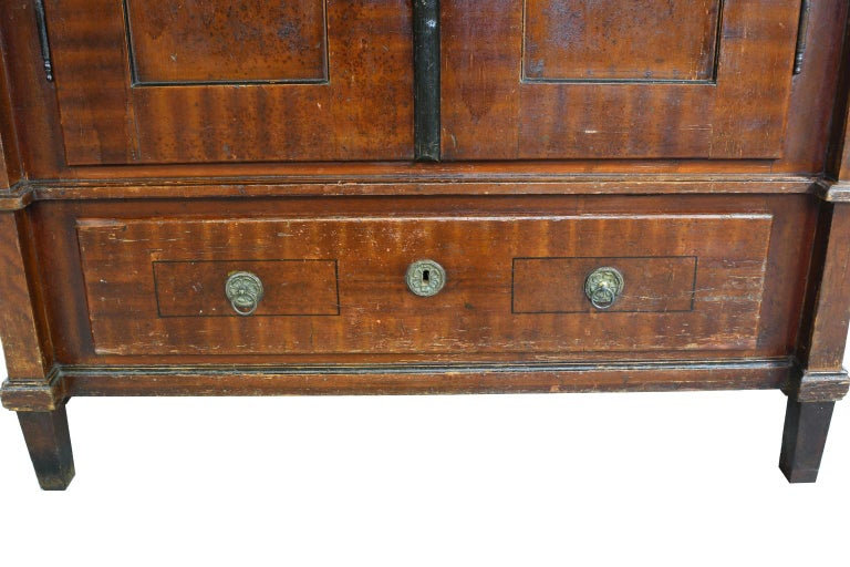 Austrian Armoire with Original Tooled Red/Maroon Painted Finish, circa 1800 For Sale 5